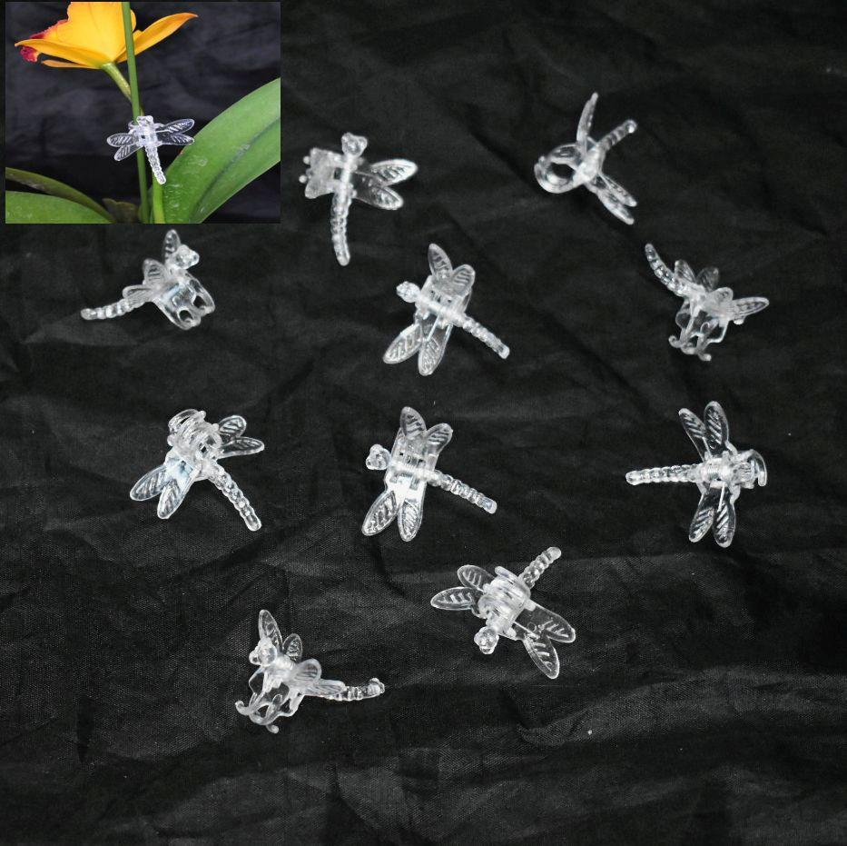 (20 Pack) Clear Plastic Dragonfly Clips by Sophie's Orchids