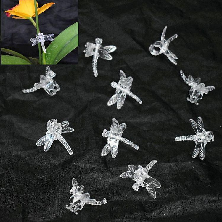 (5 Pack) Clear Plastic Dragonfly Clips by Sophie's Orchids