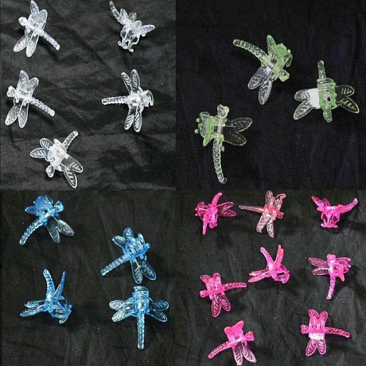 (10 Pack) Assortment of Colors - Plastic Dragonfly Clips by Sophie's Orchids