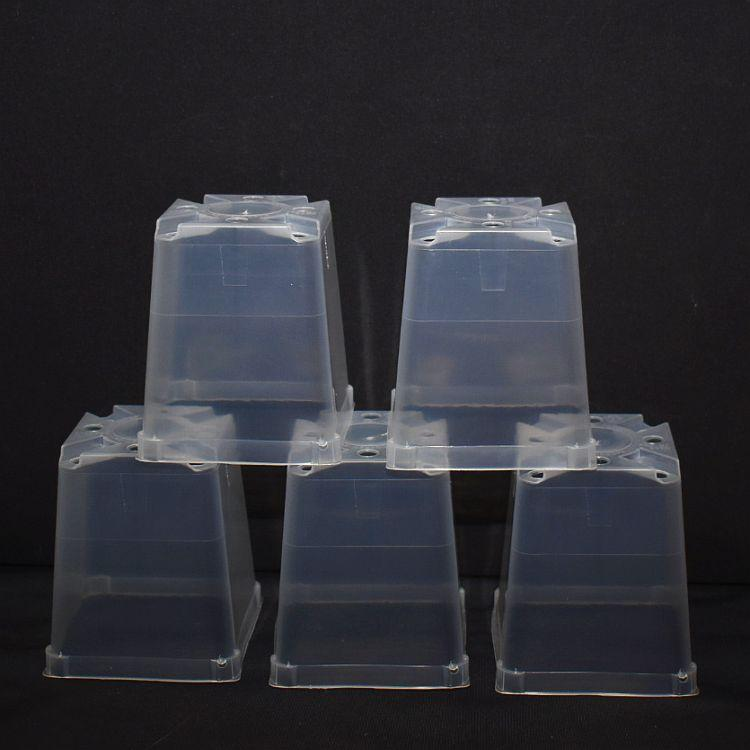 (5 Pack) 3 1/2'' Clear Square Plastic Orchid Pot by Sophie's Orchids