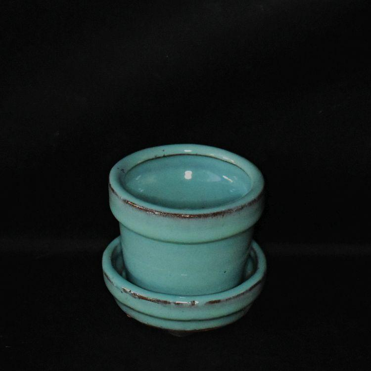 Robins Egg Blue Ceramic Round Pot w/Saucer attached 2 3/4'' by Sophie's Orchids