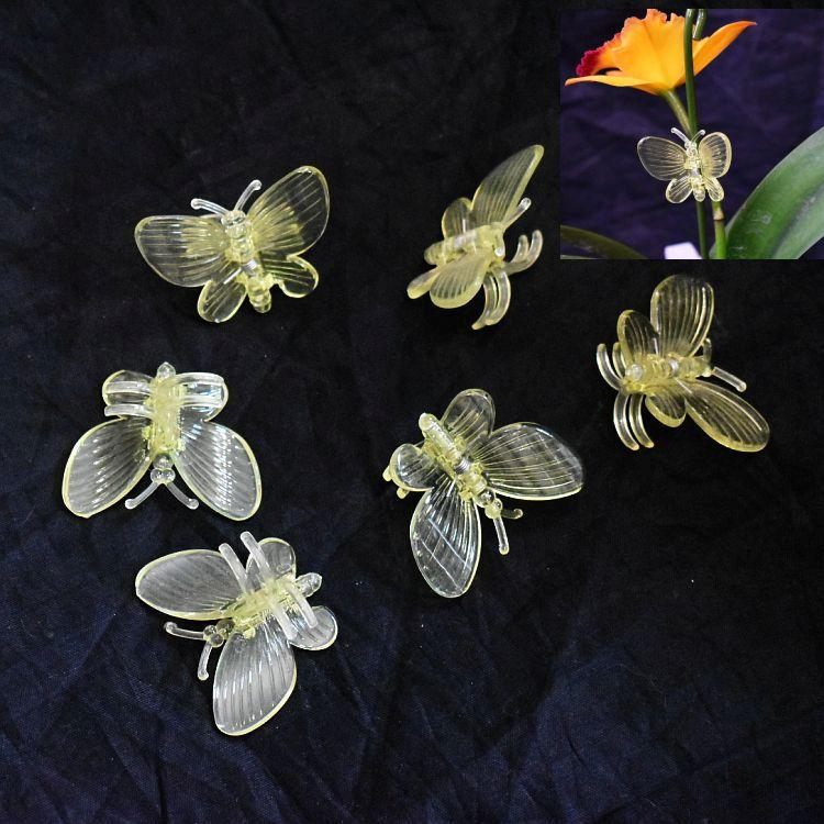 (10 Pack) Yellow Plastic Butterfly Clips by Sophie's Orchids