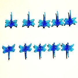 BIN 30 Pack Blue Plastic Dragonfly Clips by Sophie's Orchids